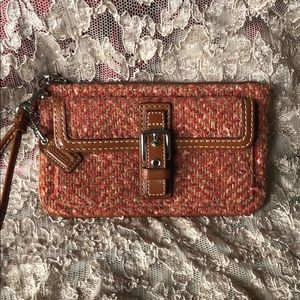 Coach Tweed fall colored wristlet